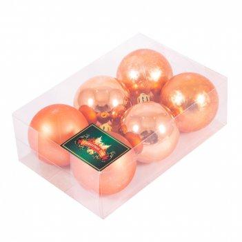 """Набор ёлочных игрушек """"шары"""" из 6шт. 60мм, медь"""