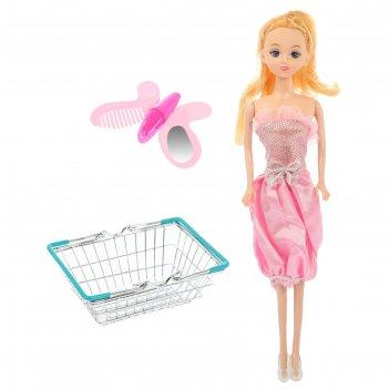 Корзинка для покупок мини-супермаркет с куклой, микс