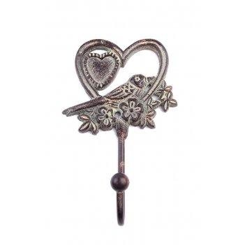 Вешалка-крючок птичка в сердце (железо) 6шт/упак.
