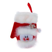 Варежка для подарка снеговик (красная, пушистая)