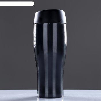 Термокружка 450 мл, 304 нерж сталь, держит тепло 12 ч, чёрная, 8х8х21.5 см