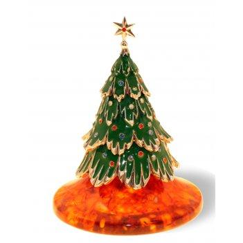 Сувенир новогодняя ель из янтаря