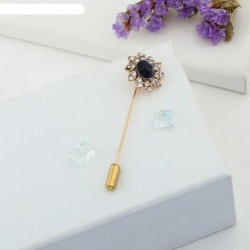 Булавка цветок королевский, 5,6 см, цвет сине-белый в золоте
