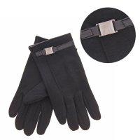 Перчатки мужские пряжка безразмерные, полоска, пряжка, цвет черный