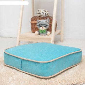Подушка на стул квадратная 43х43 см, высота 10см, голубой/бежевый, велюр,
