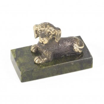 Статуэтка собачка малая №8 бронза змеевик 25х50х35 мм 75 гр.