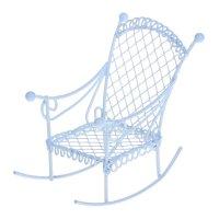 Кукольная миниатюра металлическое мини кресло-качалка белое 4,5*7см scb271