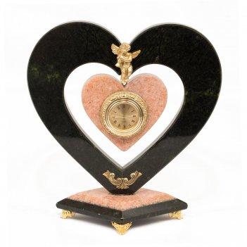 Часы сердце с ангелом мрамор змеевик