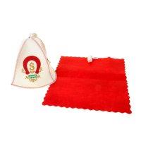 Комплект для сауны двухпредметный шапка с вышивкой + коврик
