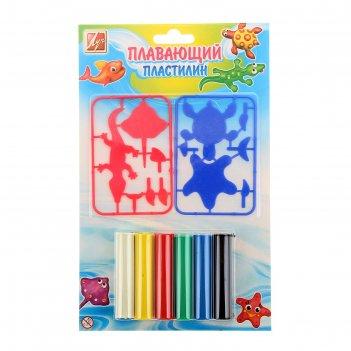 Пластилин плавающий 6 цветов с пластмассовыми деталями