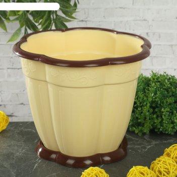 Горшок для цветов восторг 1,5 л, поддон, светло-желтый