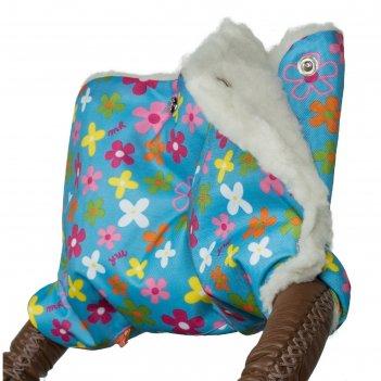 Муфта для рук на коляску меховая, принт цветочки мкм10-000