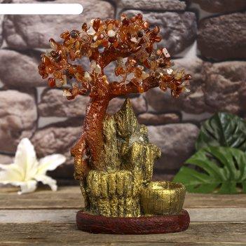 Фонтан настольный от сети, подсветка дерево на золотой горе 32х20х12 см