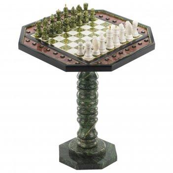 Шахматный стол с каменными фигурами мрамор змеевик 580х580х640 мм