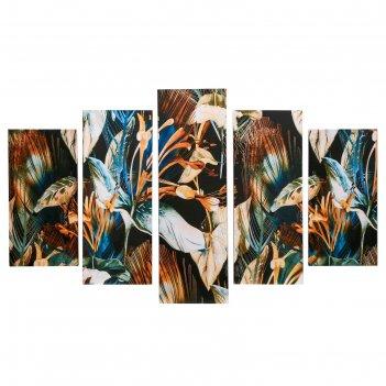 Картина модульная на подрамнике цветы 130х80 см (2-26х52; 2-26х66; 1-26х80