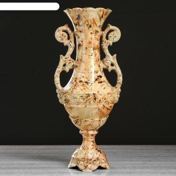Ваза напольная форма феона роспись, малахит коричневый