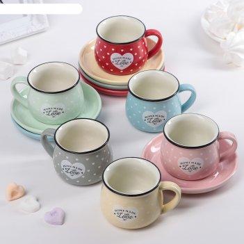 Сервиз кофейный «уютный дом», 12 шт: 6 чашек 180 мл, 6 блюдец 12,5x1,5 см,