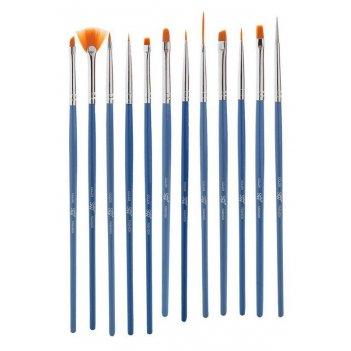 Набор   bs 12 кистей для дизайна ногтей 12 шт. (1 дотс, 1 веерная, 10 для