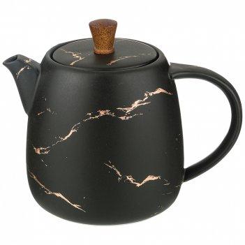 Чайник заварочный коллекция золотой мрамор цвет: black 850 mл