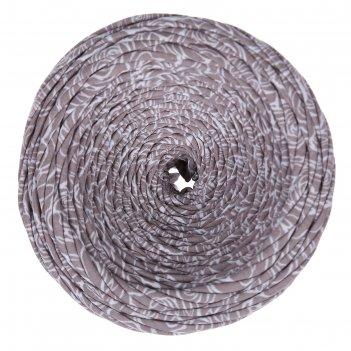 Пряжа трикотажная широкая 100м/350гр, ширина нити 7-9 мм (цветы латте прин