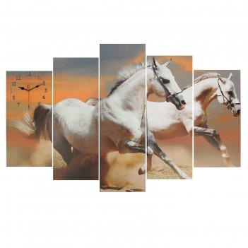 Часы настенные модульные «пара лошадей», 80 x 140 см