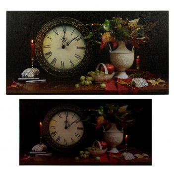 Часы настенные осенний натюрморт с led подсветкой 60*30*2см