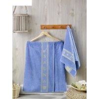 Набор для сауны мужской (килт, полотенце 50х90 см), цвет голубой