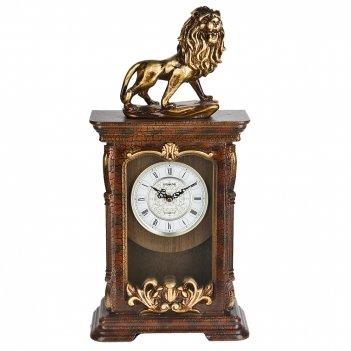 Часы настольные с маятником царь зверей 24,5*11,5*50см. (батар
