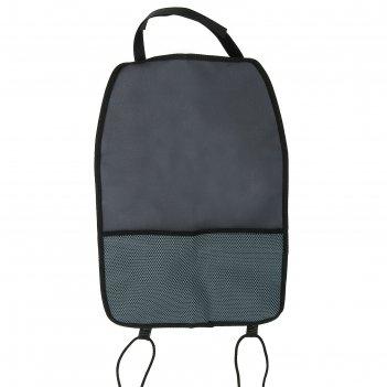 Защитная накидка-незапинайка на спинку сиденья, 1 карман, цвет серый