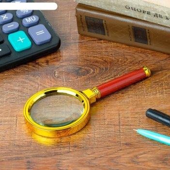 Лупа стильная золотая, диаметр 7 см, кратность 6, пластик, 16,5х8 см
