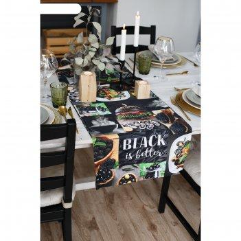 Дорожка на стол этель black 40х146 см, 100% хл, саржа 190 гр/м2