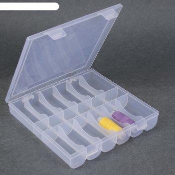 Контейнер для рукоделия прям-к 18 отделений 20*19,5*3,5см прозрачный