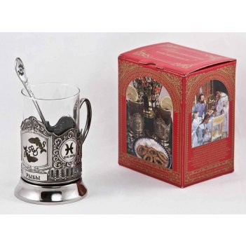 Набор д/чая рыбы (3 пр.)карт.коробка,стекл.стакан, гравировка в 4-х местах