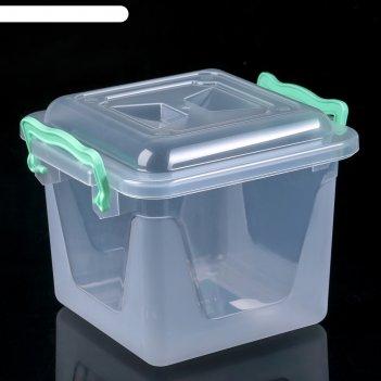Контейнер пищевой 4 л с крышкой и ручками, квадратный, цвет микс