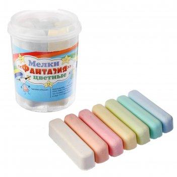 Мелки цветные 7 шт. 7 цветов «фантазия» в форме бруска, пластиковая банка