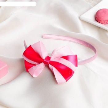 Ободок для волос двойной бант 0,5 см, розовый