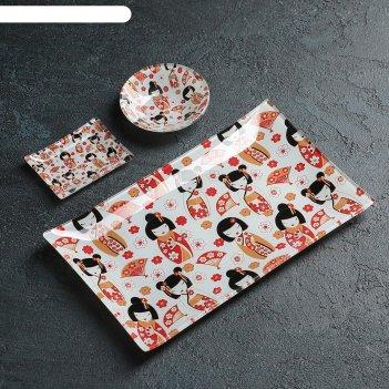 Набор для суши 3 пред саката соусники 8х2 см, 8х6х1 см, подставка 25x15x3