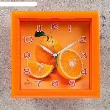 Часы настенные, серия: кухня, апельсин, оранжевая рамка, 20х20 см микс