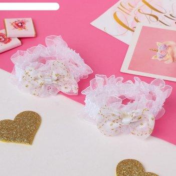 Резинка для волос рюши (набор 2 шт) банты с цветами, белый