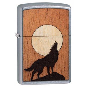 Зажигалка zippo woodchuck с покрытием street chrome™, латунь/сталь/дерево,