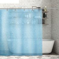 Штора для ванной 180x180 см большие цветы, peva, цвет синий