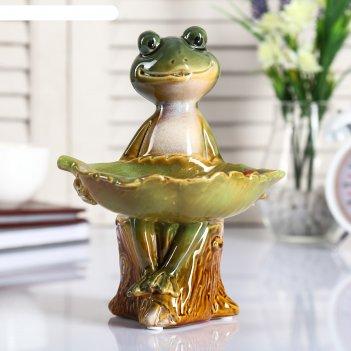 Сувенир керамика подставка лягушка на пеньке с листочком 19,5х11,5х14,5 см