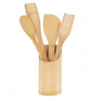 Кухонные принадлежности, набор из 5 предм. на подставке: 3 лопатки, ложка,