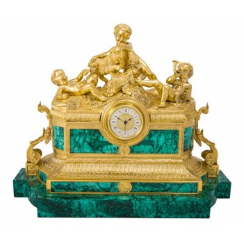 Часы каминные полянка из малахита