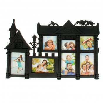Фоторамка семейный особняк на 7 фото 10х15 см, 10х10 см, 10х7.5 см, чёрная