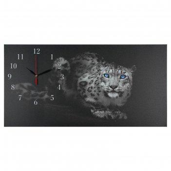 Часы настенные, серия: животный мир, на холсте леопард, 40х76  см, микс