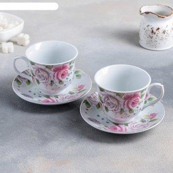 Набор чайный томная роза, 4 предмета: 2 чашки 250 мл, 2 блюдца