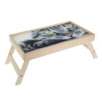 Столик-поднос серьёзный кот, стеклянная поверхность