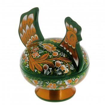 Конфетница курочка  зеленая хохлома люкс  17,5х17,5х14,5 см