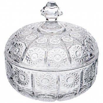 Конфетница с крышкой muza crystal 250 мл. 11,5*11,5 см. высота=13 см. (кор